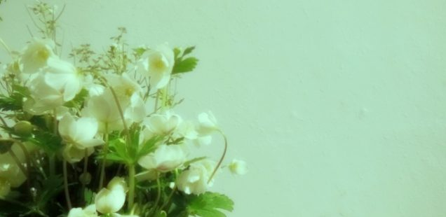 白い花器に舞う春の妖精